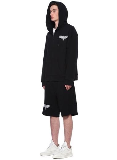 Marcelo Burlon Kapüşonlu Fermuarlı Sweatshirt Siyah